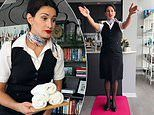 Flight attendant attempts to 'work from home'