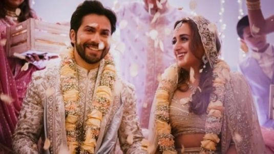 Varun Dhawan and Natasha Dalal wear matching regal outfits on wedding day