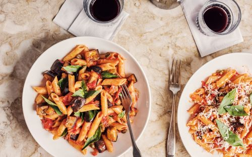 Spiced aubergine and tomato penne recipe