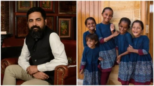 Sabyasachi makes school uniforms for underprivileged girls in Jaisalmer. Priceless pic