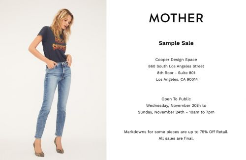 MOTHER Denim SAMPLE SALE, 11/20 - 11/24, Los Angeles