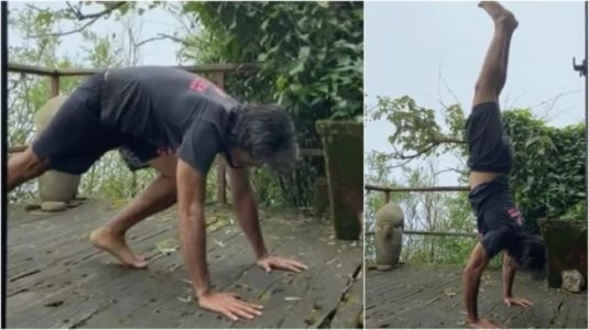 Milind Soman does handstand in new video, reveals how it improves core and balance
