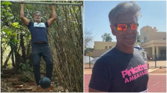 Milind Soman does pull-ups with 3kg weight ball in new Instagram video. See it here