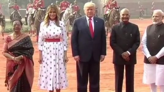 Melania Trump opts for printed midi-dress at Donald Trump's ceremonial welcome at Rashtrapati Bhavan