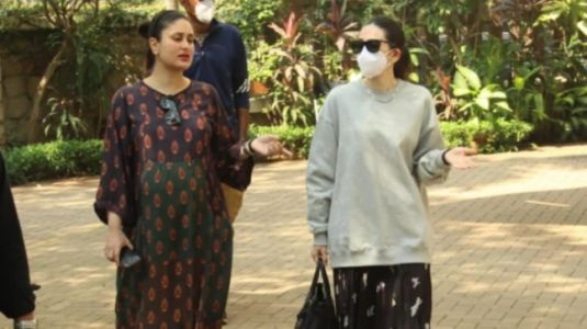 Pregnant Kareena Kapoor repeats brown kaftan on day out with Karisma Kapoor