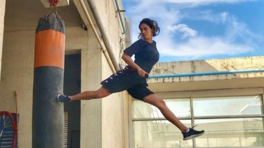 Disha Patani beats boyfriend Tiger Shroff at his signature spin and kick. Watch video