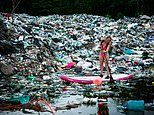 Shocking images show surfer paddling through mounds of plastic trash in Mexico