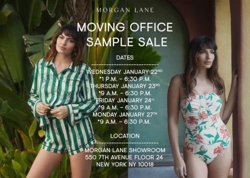 Morgan Lane Moving Office Sample Sale, 1/22 - 1/27