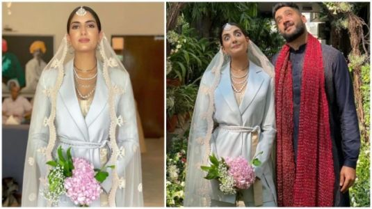 Desi bride wears blue pantsuit and bustier, goes sustainable on wedding day. Internet loves it