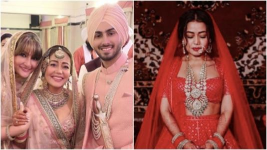 Dulhan Neha Kakkar stuns in blush-pink lehenga for day wedding, deep-red for evening