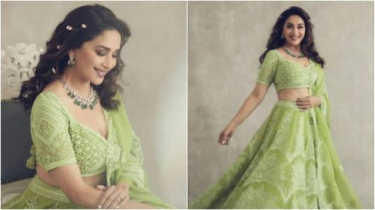 Madhuri Dixit in Rs 3 lakh green lehenga will take your breath away. See pics