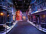 The Harry Potter Diagon Alley film set is covered in snow at Warner Bros Studio Tour London