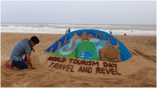 Odisha artist makes beautiful sand sculpture to celebrate World Tourism Day: Travel and Revel