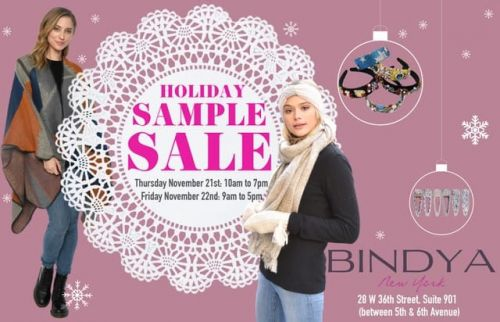 Bindya NY Holiday Sample Sale, 11/21 - 11/22, NYC