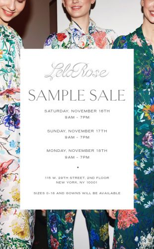Lela Rose Sample Sale, 11/16 - 11/18, NYC