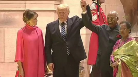 Melania Trump pays strange tribute to saree in bubblegum pink dress for Rashtrapati Bhavan dinner